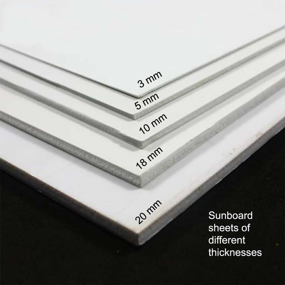sheets of sunboard are available in different thicknesses ranging like 3 mm, 5 mm, 10 mm and even 20 mm