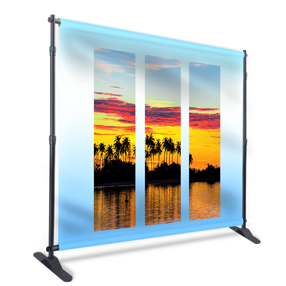 Collapsible and portable exhibition backdrop with a large printed flex stretched on jointed bars