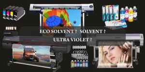 collage of solvent eco solvent and UV printers and the inks they use