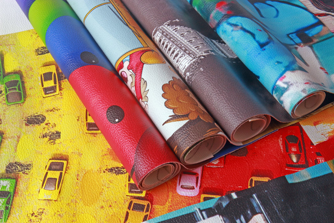custom print on leather and roll of rexine that can be used for sofa covers and interior decoration