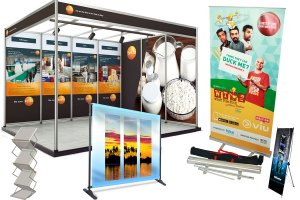 collage of exhibition solutions like backdrops, roll-up standees, X-stand for banners, brochure display stand and exhibition posters