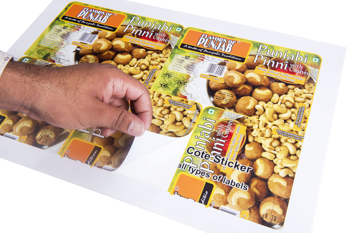 Stickers food products. High resolution label printed on mirror coat paper having a slightly glossy finish