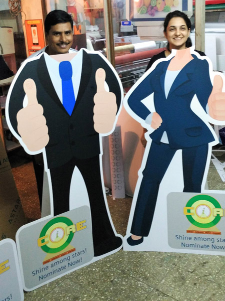 cut out standee used as a selfie booth
