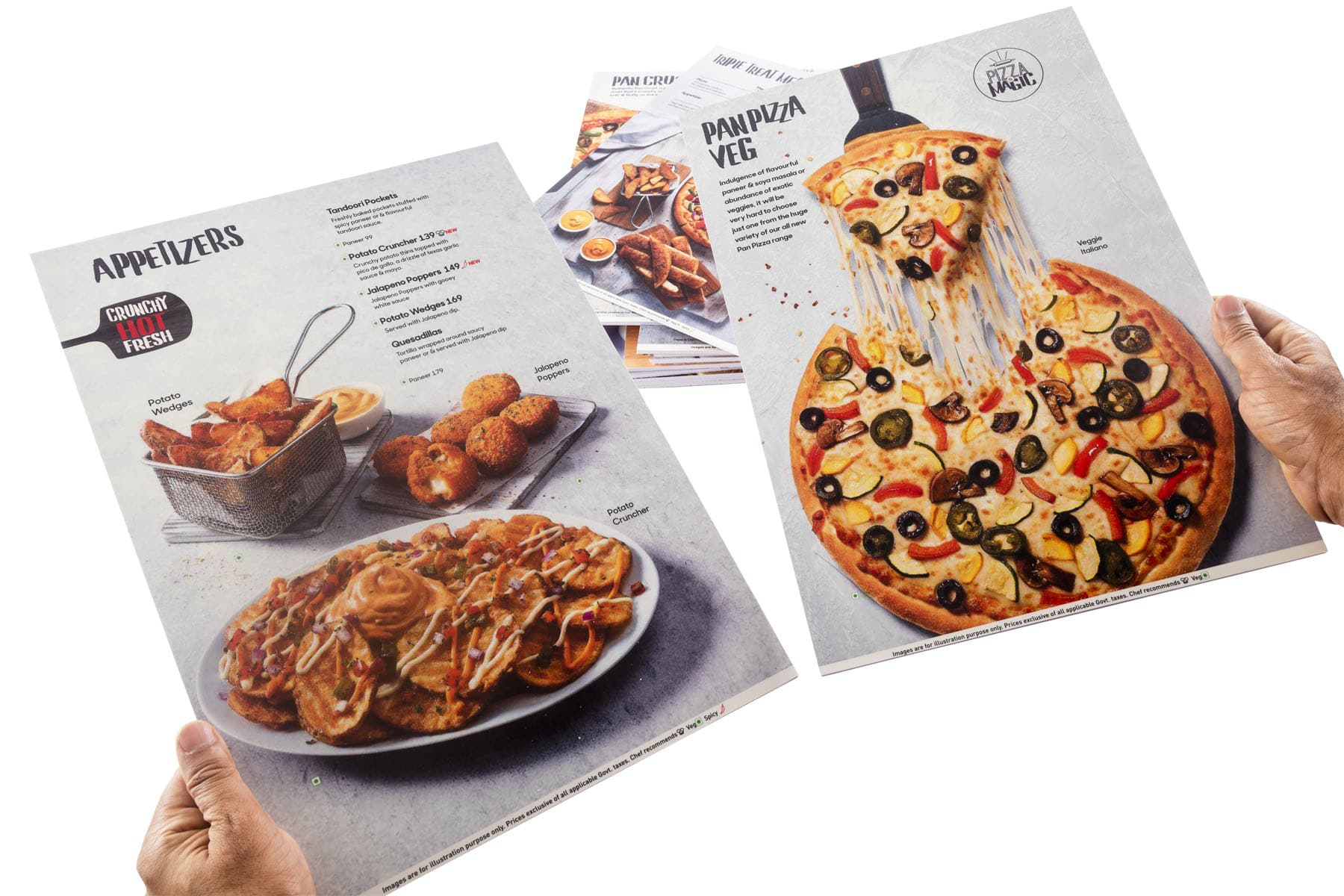 rigid menus showing food shots of pizzas printed on a thick sunboard sheet which do not bend and remain stiff
