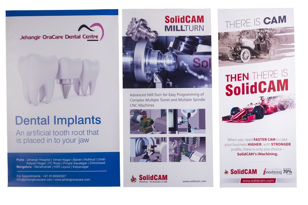 commercial vinyl posters for exhibitions showing artwork for the Jehangir Hospital and Solidcam company