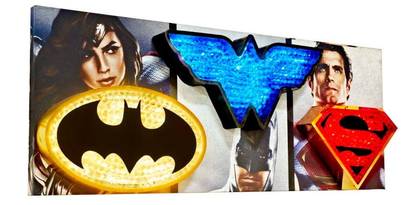 Superhero logos made of metal with crystals on the front surface. LEDs lights giving a beautiful sparkling glow. Crystal letters mounted on an ACP board printed with images of Justice League superheroes