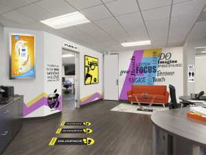 Seven office decor ideas to enhance the looks of your workplace by using personalised wallpapers posters floor graphics,laser etched name plates logo boards and name directory boards
