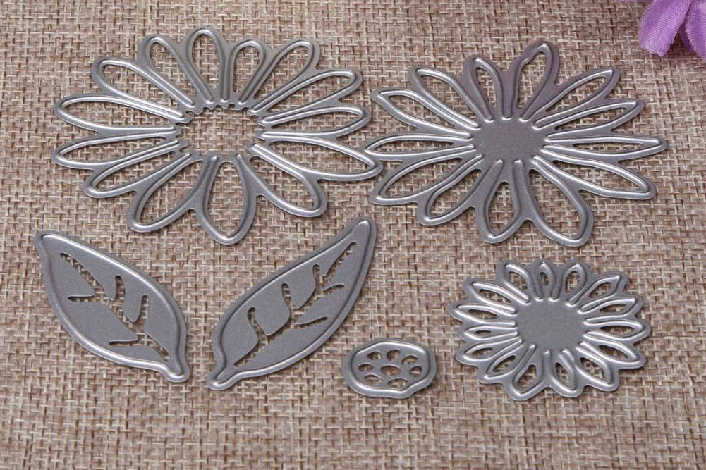metallic die meaant for punching out flower shaped pieces of paper for a craft project