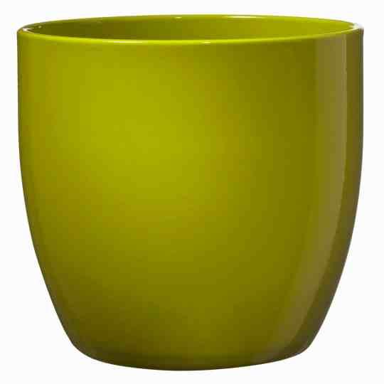Basel Full Colour Orchid Pot Ceramic - Shiny Lime (19 x 18cm)