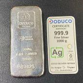 Lingot Argent HAFNER-DODUCO - 1kg pur- achat or bordeaux