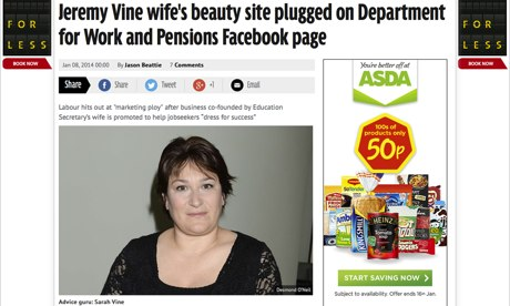 The Mirror's story on Michael Gove's wife
