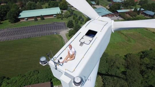 wind turbine sunbathing