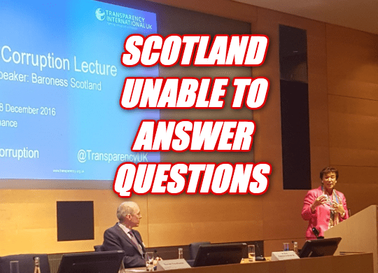 Baroness Scotland Refuses to Answer Corruption Questions