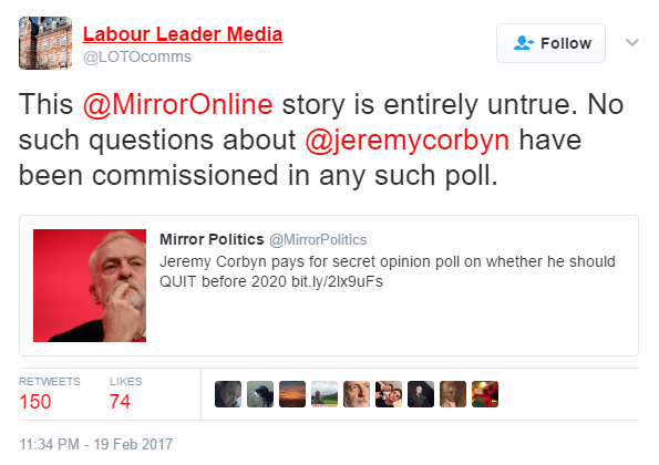 Team Corbyn Tweeting Fake News