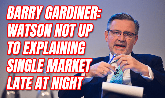 Gardiner: Watson Not Up To Explaining Single Market Late at Night