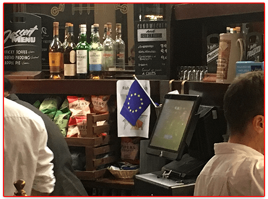 EU Flag Flies in Farage's Favourite Boozer
