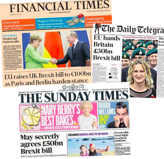 Brexit Bill £35-39 Billion: What the Papers Said