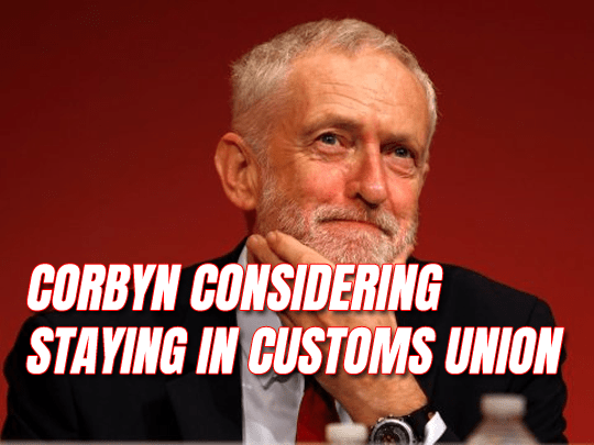 Corbyn Considering Backing Customs Union