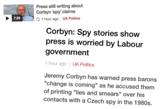 "BBC Website Finally Reports Corbyn Spy Story… And Attacks ""Press Barons"""