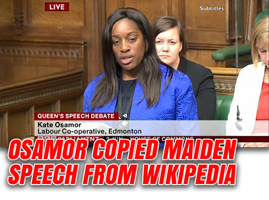 Kate Osamor Plagiarised Maiden Speech