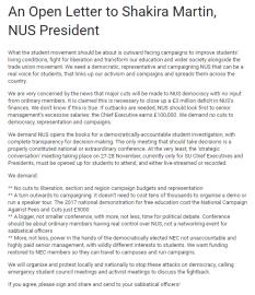 NUS Open Letter