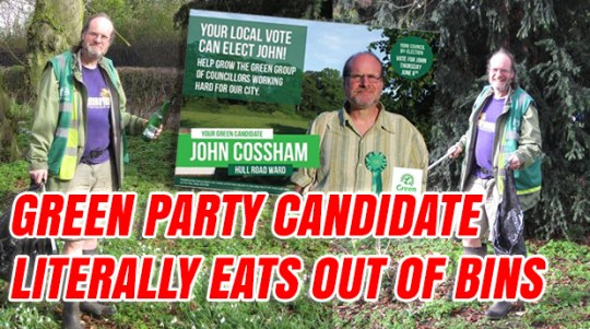 Green Party Candidate Eats Out Of Bins