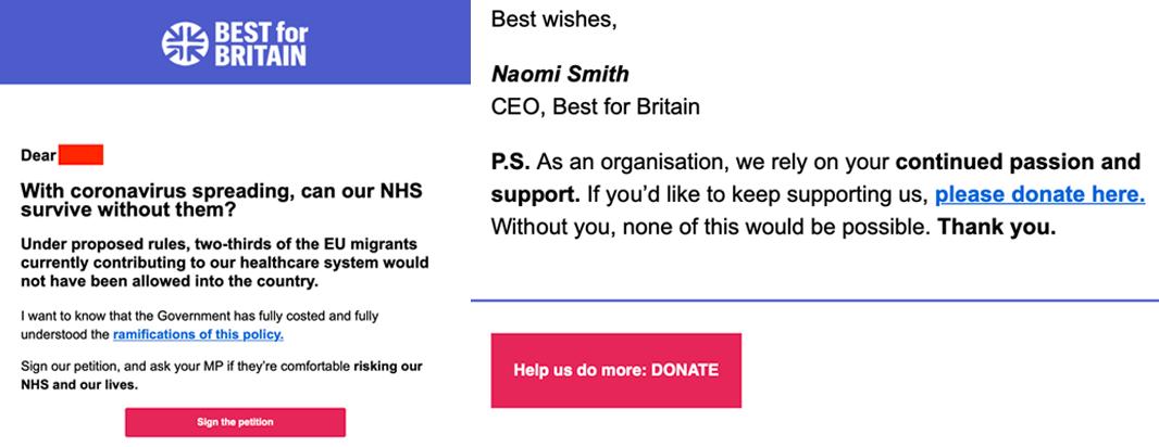 Best for Britain Weaponising Coronavirus as Fundraising Opportunity