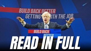 Read in Full: Boris's Conference Speech