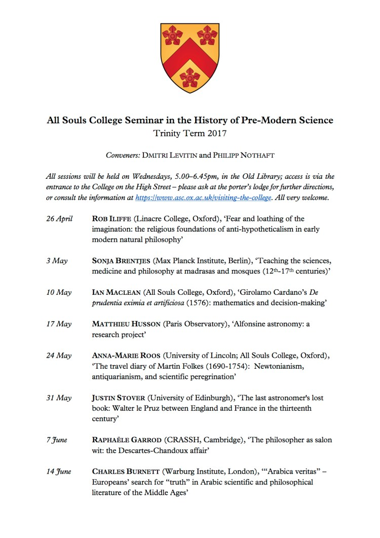 History of Science Seminar Programme - Trinity 2017
