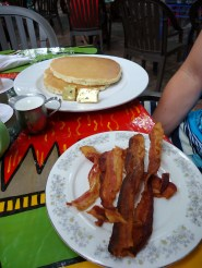 Pancakes and bacon at Blue Heaven