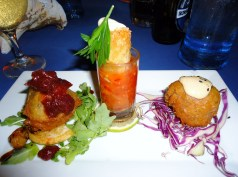 Appetizer platter: tempura brie, lobster and shrimp spring roll, conch and crocodile fritter