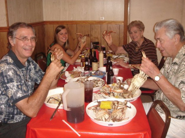 Eating boiled Louisiana crabs with my dad, Pawpaw and Mamon