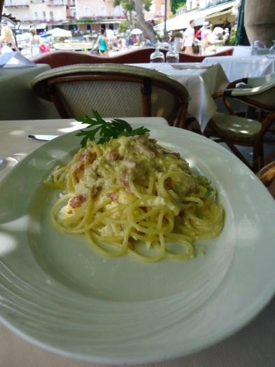 Spaghetti alla carbonara at Buca de Bacco Restaurant in Positano