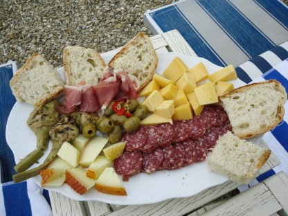 Antipasti platter from our finds at the Coop supermarket in Impruneta
