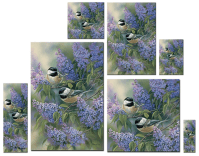 Chickadees & Lilac Wall Art
