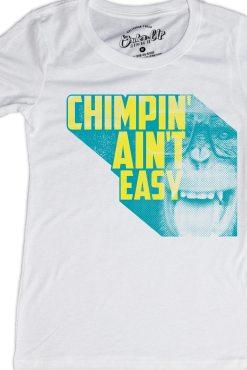 Womens_White_Chimpin' Aint Easy Retro Tshirt