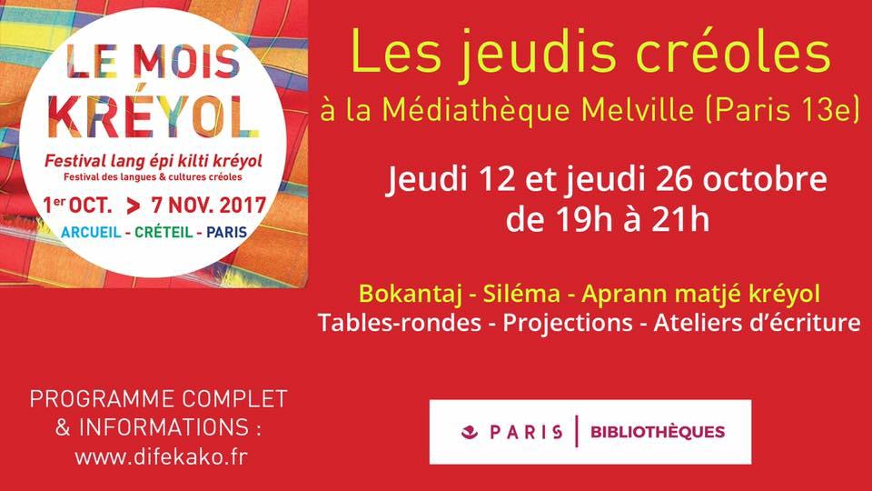 Mois du Créole – Médiathèque Jean-Pierre Melville & Cie Difé Kako