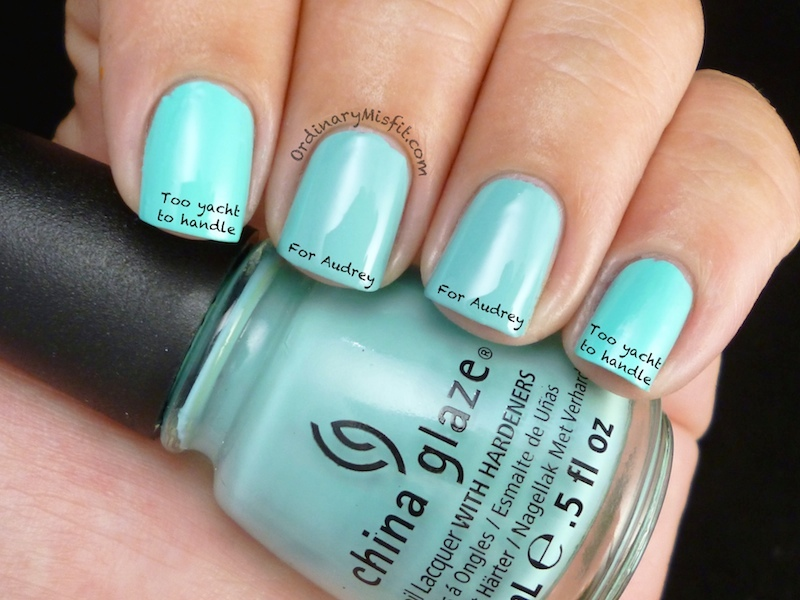 Comparison China Glaze For Audrey Vs Too Yacht To Handle