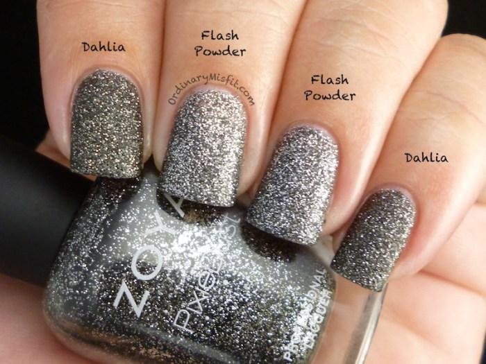 Comparison Zoya Dahlia vs Essence Flash powder