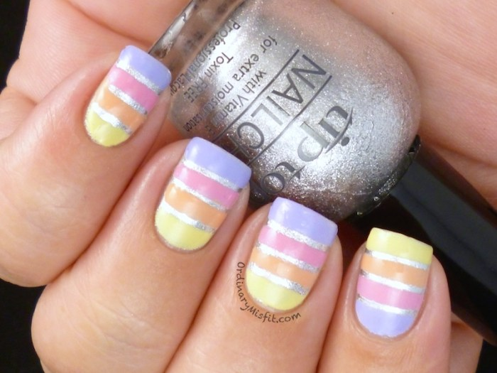 Easter Stripes nail art 2