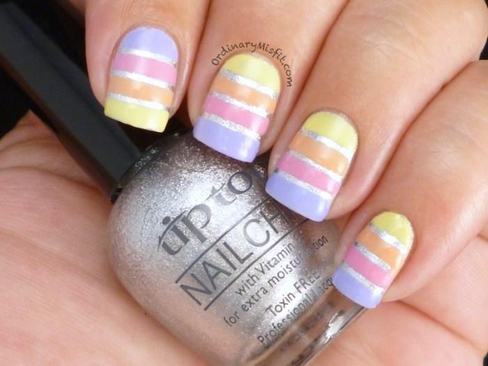 Easter Stripes nail art 3