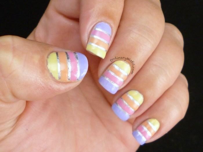 Easter Stripes nail art 4