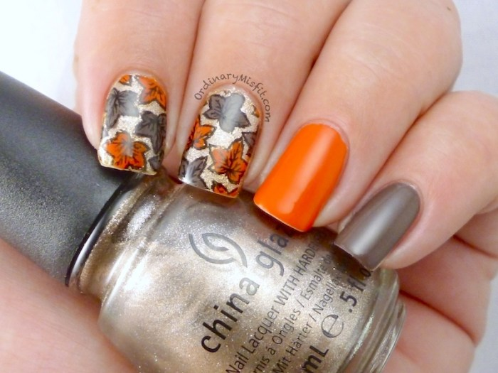 Autumn leaves nail art 2