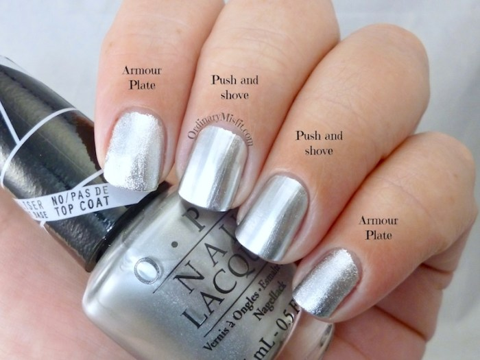 Comparison OPI - Push and shove vs Tip Top - Armour plate 1