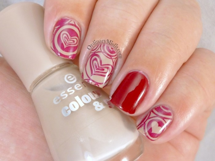 Red on nude stamped nail art 2