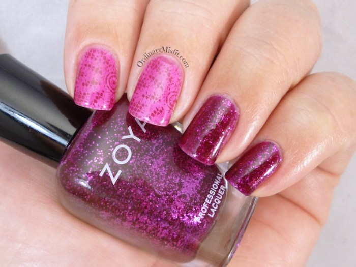 Shimmer and stamping sandwich nail art 3