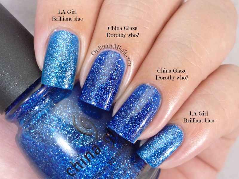 Comparison: LA Girl - Brilliant blue vs China Glaze - Dorothy who?