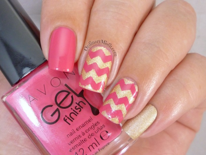 Pink and gold zig zag