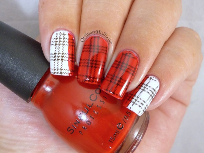 White and red plaid nail art