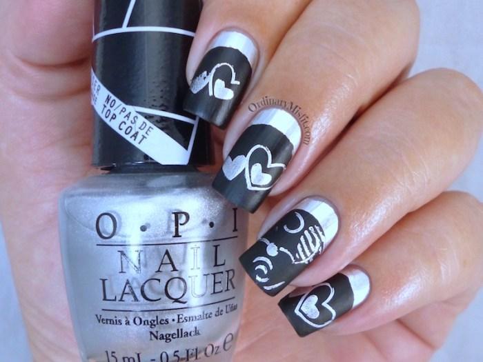 Chrome Valentine nail art 3